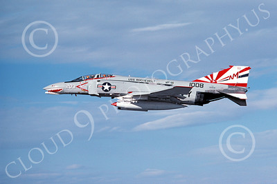 F-4USN 00424 McDonnell Douglas F-4J Phantom II US Navy 1008 VF-111 SUNDOWNERS USS Roosevelt Bicentennial Markings 5-1976, by Michael Grove, Sr