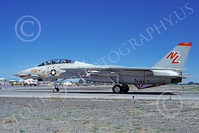 F-14USN 01021 A taxing Grumman F-14 Tomcat USN 160666 VF-111 SUNDOWNERS USS Carl Vinson NAS Fallon 6-1980, by Michael Grove, Sr