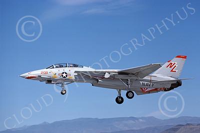F-14USN 01022 A landing Grumman F-14 Tomcat USN 160666 VF-111 SUNDOWNERS USS Kitty Hawk NAS Fallon 6-1980, by Michael Grove, Sr