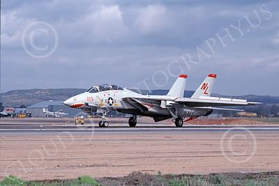 F-14USN 01027 A Grumman F-14 Tomcat USN 160676 VF-111 SUNDOWNERS USS Kitty Hawk rolls out on NAS Miramar's runway 2-1979, by Michael Grove, Sr