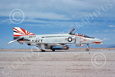 F-4USN 00569 A McDonnell Douglas F-4J Phantom II US Navy 2277 VF-111 SUNDOWNERS SHARKMOUTH NL NAS Fallon May 1976 military airplalne picture by Michael Grove, Sr