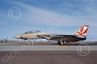 F-14USN 01015 A taxing Grumman F-14 Tomcat USN 160664 VF-111 SUNDOWNERS USS Carl Vinson NAS Fallon 3-1984, by Michael Grove, Sr