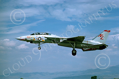 F-14USN 01010 A landing Grumman F-14 Tomcat USN 160666 VF-111 SUNDOWNERS USS Kitty Hawk NAS Fallon 8-1978, by Michael Grove, Sr