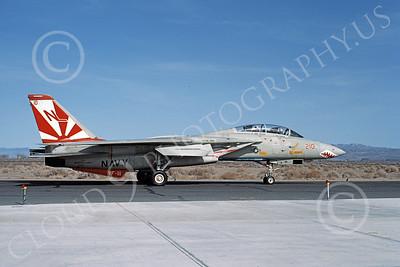 F-14USN 01017 A taxing Grumman F-14 Tomcat USN 161272 VF-111 SUNDOWNERS USS Carl Vinson NAS Fallon 3-1984, by Michael Grove, Sr