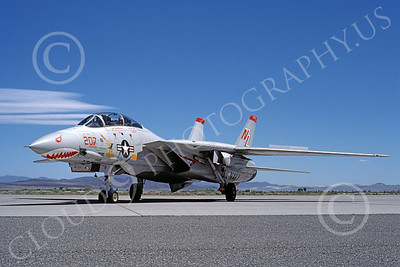 F-14USN 01011 A taxing Grumman F-14 Tomcat USN VF-111 SUNDOWNERS USS Kitty Hawk NAS Fallon 6-1980, by Michael Grove, Sr