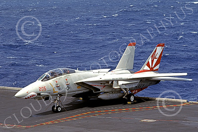 F-14USN 01005 A static Grumman F-14 Tomcat USN 160654 VF-111 SUNDOWNERS USS Carl Vinson 7-1983, by Tom Chee