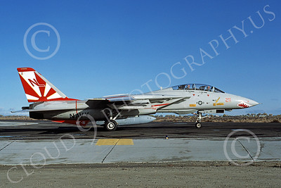 F-14USN 01013 A taxing Grumman F-14 Tomcat USN 161270 VF-111 SUNDOWNERS NAS Fallon 10-1982, by Michael Grove, Sr