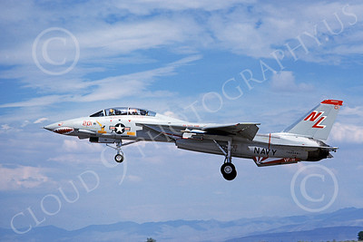 F-14USN 01014 A landing Grumman F-14 Tomcat USN 160668 VF-111 SUNDOWNERS USS Kitty Hawk NAS Fallon 8-1978, by Michael Grove, Sr