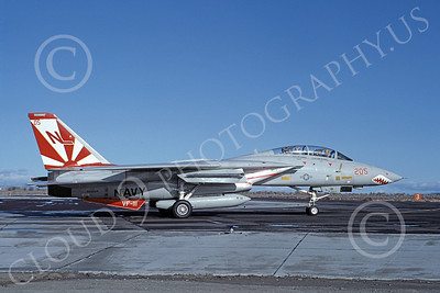 F-14USN 01023 A taxing Grumman F-14 Tomcat USN 160654 VF-111 SUNDOWNERS USS Carl Vinson NAS Fallon 10-1982, by Michael Grove, Sr