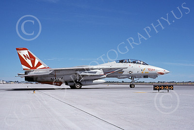 F-14USN 01025 A taxing Grumman F-14 Tomcat USN 161621 VF-111 SUNDOWNERS USS Carl Vinson NAS Fallon 6-1989, by Michael Grove, Sr
