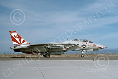 F-14USN 01009 A taxing Grumman F-14 Tomcat USN 162594 VF-111 SUNDOWNERS USS Kitty Hawk NAS Fallon 4-1992, by Michael Grove, Sr