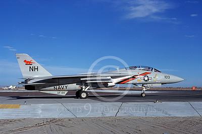 F-14USN 01069 A taxing Grumman F-14 Tomcat USN VF-114 AARDVARKS USS Enterprise NAS Fallon 11-1980, by Michael Grove, Sr