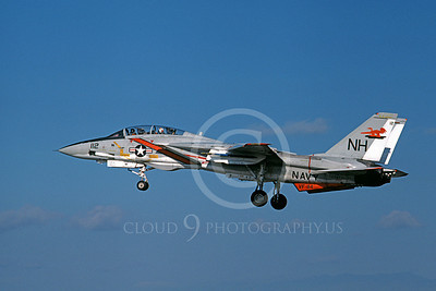 F-14USN 01050 A landing Grumman F-14 Tomcat USN 159872 VF-114 AARDVARKS USS Kitty Hawk NAS Fallon 11-1978, by Michael Grove, Sr