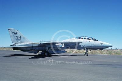 F-14USN 01077 A taxing Grumman F-14 Tomcat USN VF-114 AARDVARKS USS Enterprise NAS Fallon 8-1987, by Michael Grove, Sr