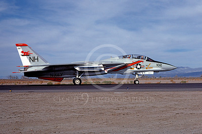 F-14USN 01051 A taxing Grumman F-14 Tomcat USN VF-114 AARDVARKS USS Kitty Hawk NAS Fallon 4-1977, by Michael Grove, Sr