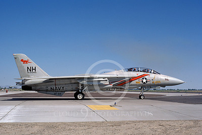 F-14USN 01073 A taxing Grumman F-14 Tomcat USN VF-114 AARDVARKS USS Enterprise with Phoenix missile NAS Fallon 6-1982, by Michael Grove, Sr