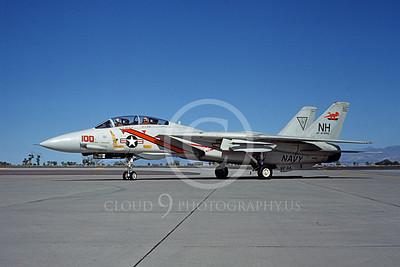 F-14USN 01067 A taxing Grumman F-14 Tomcat USN VF-114 AARDVARKS USS Enterprise NAS Fallon 9-1983, by Michael Grove, Sr