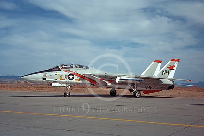 F-14USN 01049 A static Grumman F-14 Tomcat USN VF-114 AARDVARKS USS Kitty Hawk NAS Fallon 4-1977, by Michael Grove, Sr