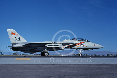 F-14USN 01071 A taxing Grumman F-14 Tomcat USN VF-114 AARDVARKS USS Enterprise NAS Fallon 9-1983, by Michael Grove, Sr