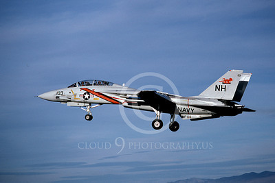 F-14USN 01058 A landing Grumman F-14 Tomcat USN VF-114 AARDVARKS 11-1980, by Michael Grove, Sr
