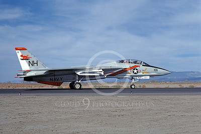 F-14USN 01055 A taxing Grumman F-14 Tomcat USN 159854 VF-114 AARDVARKS USS Kitty Hawk NAS Fallon 4-1977, by Michael Grove, Sr