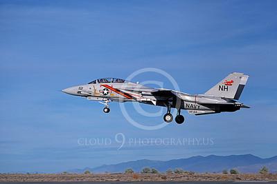 F-14USN 01060 A landing Grumman F-14 Tomcat USN VF-114 AARDVARKS with Sparrow missile NAS Fallon 11-1980, by Michael Grove, Sr