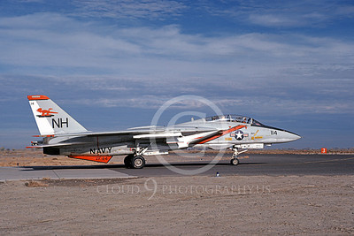 F-14USN 01053 A taxing Grumman F-14 Tomcat USN VF-114 AARDVARKS USS Kitty Hawk NAS Fallon 11-1978, by Michael Grove, Sr