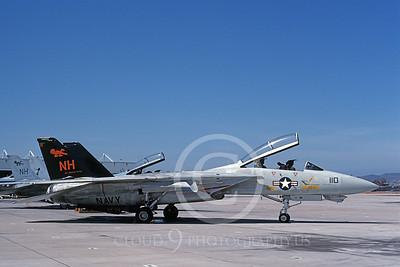 F-14USN 01079 A static Grumman F-14 Tomcat USN VF-114 AARDVARKS USS Abraham Lincoln NAS Miramar 5-1991, by Michael Grove, Sr