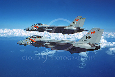 F-14USN 01052 Two flying Grumman F-14 Tomcats USN VF-114 AARDVARKS USS America 3-1981, by Robert L Lawson