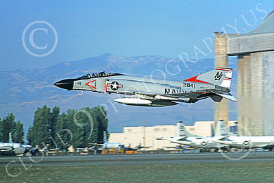F-4USN 00182 A flying McDonnell Douglas F-4 Phantom II US Navy 3841 VF-121 PACEMAKERS NAS Moffett 2-1977 military airplane picture by Michael Grove, Sr