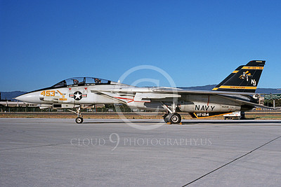 F-14USN 01111 A static Grumman F-14 Tomcat USN VF-124 GUNFIGHTERS 7-1989, by Michael Grove, Sr