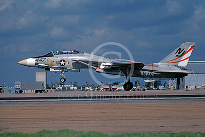F-14USN 01082 A landing Grumman F-14 Tomcat USN 160657 VF-124 GUNFIGHTERS NAS Miramar 2-1979, by Michael Grove, Sr