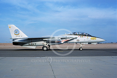 F-14USN 01107 A taxing Grumman F-14 Tomcat USN VF-124 GUNFIGHTERS NAS Fallon 4-1987, by Michael Grove, Sr