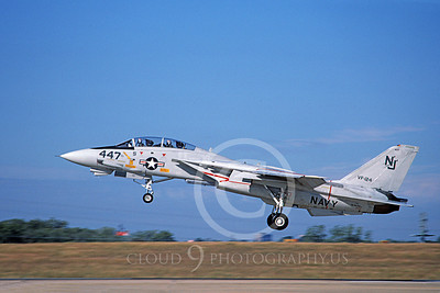 F-14USN 01108 A landing Grumman F-14 Tomcat USN VF-124 GUNFIGHTERS 11-1986, by Michael Grove, Sr