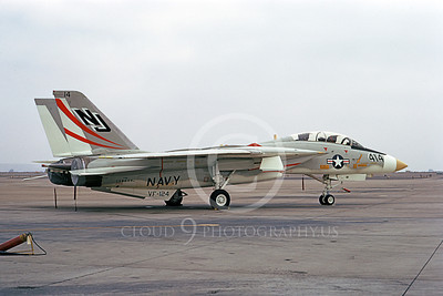 F-14USN 01091 A static Grumman F-14 Tomcat USN 158634 VF-124 GUNFIGHTERS NAS Miramar 9-1973, by Michael Grove, Sr