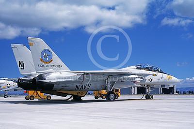 F-14USN 01115 A static Grumman F-14 Tomcat USN 162589 VF-124 GUNFIGHTERS NAS Miramar 7-1987, by Michael Grove, Sr