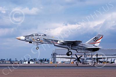 F-14USN 01089 A landing Grumman F-14 Tomcat USN 159844 VF-124 GUNFIGHTERS NAS Miramar 2-1979, by Michael Grove, Sr