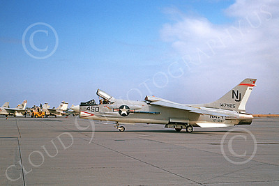 F-8USN 00025 A taxing Vought F-8 Crusader jet fighter VF-124 GUNFIGHTERS NAS Lemoore 11-1969 military airplane picture by Peter B Lewis