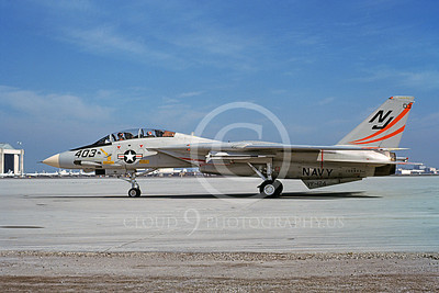 F-14USN 01099 A taxing Grumman F-14 Tomcat USN 160892 VF-124 GUNFIGHTERS NAS Moffett 2-1980, by Michael Grove, Sr