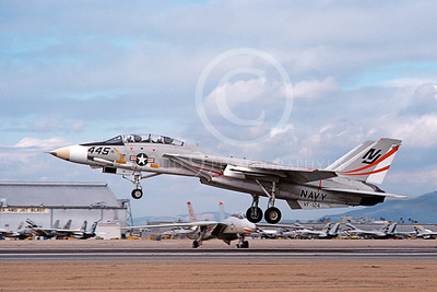 F-14USN 01096 A landing Grumman F-14 Tomcat USN VF-124 GUNFIGHTERS NAS Miramar 2-1979, by Michael Grove, Sr