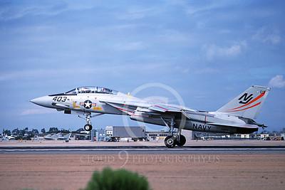 F-14USN 01087 A landing Grumman F-14 Tomcat USN 159833 VF-124 GUNFIGHTERS NAS Miramar 2-1978, by Michael Grove, Sr