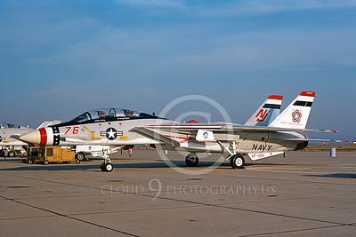 F-14USN 01083 A static Grumman F-14 Tomcat USN 159616 VF-124 GUNFIGHTERS NAS Miramar 1-1979 BICENTENNIAL, by Michael Grove, Sr