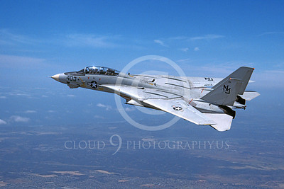 F-14USN 01098 A flying Grumman F-14 Tomcat USN VF-124 GUNFIGHTERS with wings fully swept back 4-1984, by Robert L Lawson