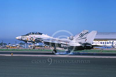 F-14USN 01106 A landing Grumman F-14 Tomcat USN VF-124 GUNFIGHTERS NAS Miramar 2-1982, by Michael Grove, Sr