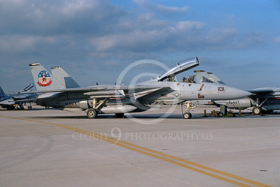 F-14USN 01101 A static Grumman F-14 Tomcat USN 159863 VF-124 GUNFIGHTERS NAS Oceana 10-1995, by Michael Grove, Sr
