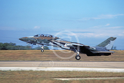 F-14USN 01100 A landing Grumman F-14 Tomcat USN VF-124 GUNFIGHTERS 11-1986, by Michael Grove, Sr