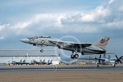 F-14USN 01092 A landing Grumman F-14 Tomcat USN VF-124 GUNFIGHTERS NAS Miramar 2-1979, by Michael Grove, Sr