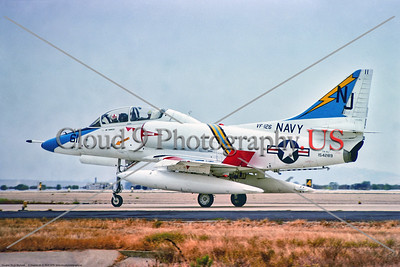 TA-4-USN-VF-126 001 A USN Douglas TA-4J Skyhawk, 154289, VF-126 FIGHTING SEAHAWKS , NJ tail code, taxing at NAS Miramar 9-1975, military airplane picture by Stephen W  D  Wolf     BBB_9347     Dt