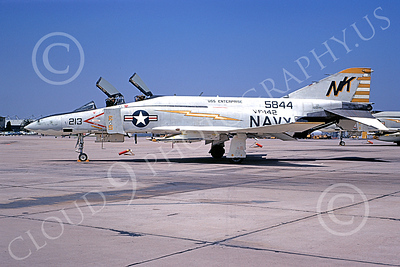 F-4USN 00517 A static McDonnell Douglas F-4J Phantom II US Navy 155484 VF-142 GHOSTRIDERS USS Enterprise NK NAS Miramar April 1971 military airplane picture by Peter B  Lewis