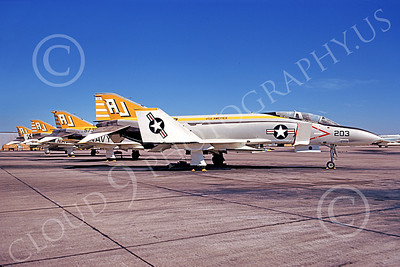 F-4USN 00541 A static McDonnell Douglas F-4 Phantom II USN 155897 VF-142 GHOSTRIDERS USS America AJ NAS Miramar Nov 1973 military airplane picture by Michael Grove, Sr